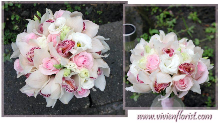 Classic and Simple Cymbidium Roses Wedding Bouquet
